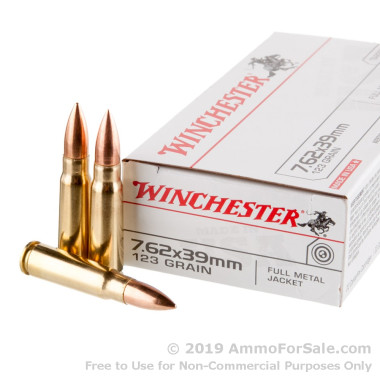 20 Rounds of 123gr FMJ 7.62x39mm Ammo by Winchester