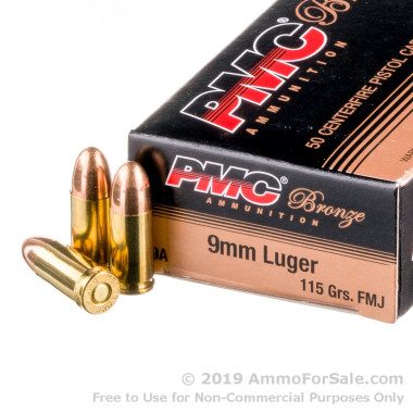 50 Rounds of 115gr FMJ 9mm Ammo by PMC