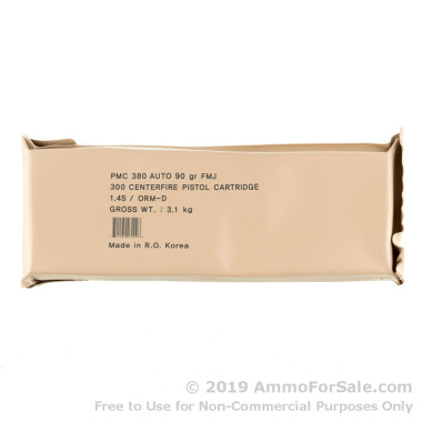 300 Rounds of 90gr FMJ .380 ACP Ammo by PMC