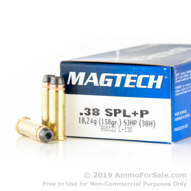 50 Rounds of 158gr +P SJHP .38 Spl Ammo by Magtech