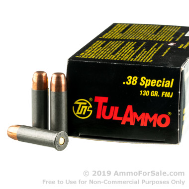 50 Rounds of 130gr FMJ .38 Spl Ammo by Tula