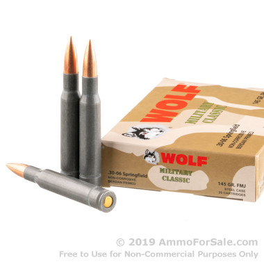 500  Rounds of 145gr FMJ 30-06 Springfield Ammo by Wolf