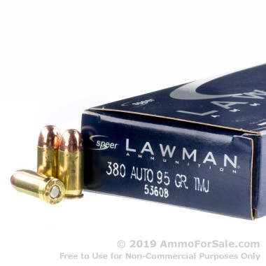 50 Rounds of 95gr TMJ .380 ACP Ammo by Speer
