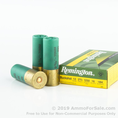 5 Rounds of  #1 Buck 12ga Ammo by Remington