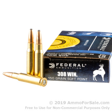 20 Rounds of 150gr SP .308 Win Ammo by Federal