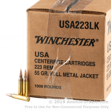 1000 Rounds of 55gr FMJ .223 Ammo by Winchester