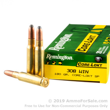 20 Rounds of 180gr SP .308 Win Ammo by Remington