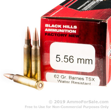 50 Rounds of 62gr TSX 5.56 Ammo by Black Hills Ammunition