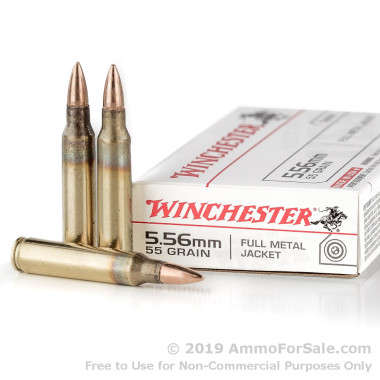 20 Rounds of 55gr FMJ 5.56x45 Ammo by Winchester