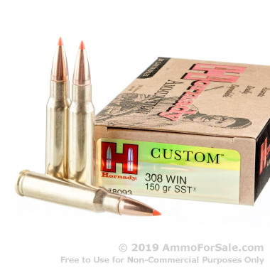 20 Rounds of 150gr SST .308 Win Ammo by Hornady