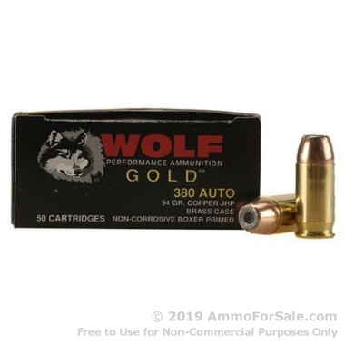 1000 Rounds of 94gr JHP .380 ACP Ammo by Wolf