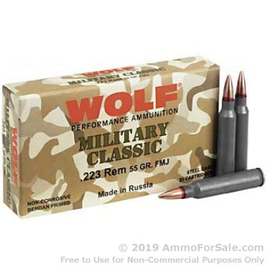 500  Rounds of 55gr FMJ .223 Ammo by Wolf