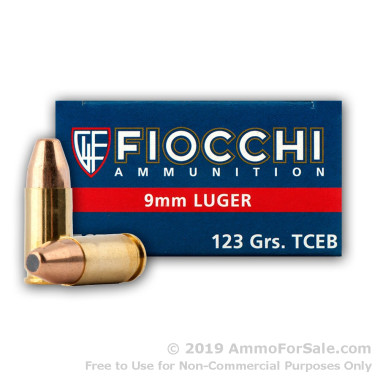 50 Rounds of 123gr FMJTCEB 9mm Ammo by Fiocchi