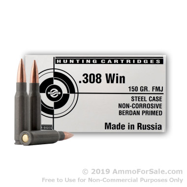 20 Rounds of 150gr FMJ .308 Win Ammo by Tula