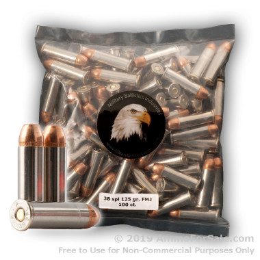1000 Rounds of 125gr FMJ .38 Spl Ammo by M.B.I.