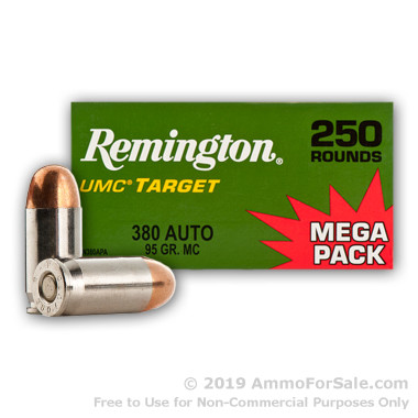 250 Rounds of 95gr MC .380 ACP Nickel Plated Ammo by Remington