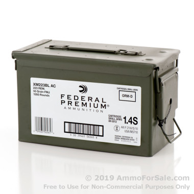 1000 Rounds of 55gr FMJ .223 Ammo by Federal
