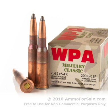 20 Rounds of 200gr SP 7.62x54r Ammo by Wolf