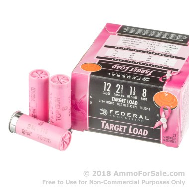 25 Rounds of 1 1/8 ounce #8 shot 12ga Pink Hull Ammo by Federal