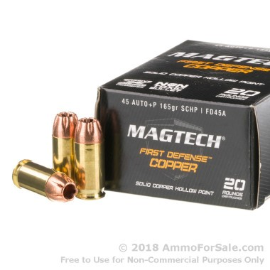 20 Rounds of 165gr SCHP .45 ACP +P Ammo by Magtech First Defense