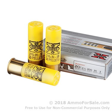 5 Rounds of  #3 Buck 20ga Ammo by Winchester