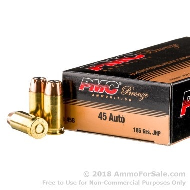 1000 Rounds of 185gr JHP .45 ACP Ammo by PMC
