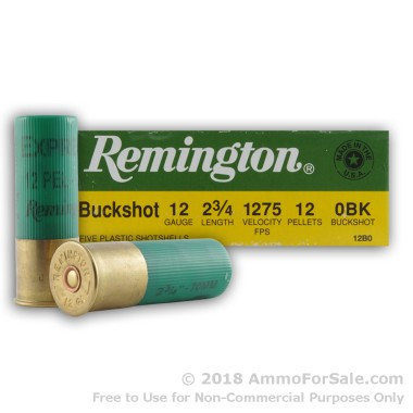 5 Rounds of  0 Buck 12ga Ammo by Remington