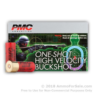 5 Rounds of LE HV 00 Buck 12ga Ammo by PMC