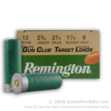 250 Rounds of 1 1/8 ounce #9 shot 12ga Ammo by Remington