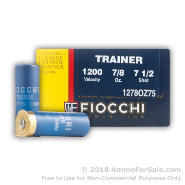 250 Rounds of 7/8 ounce #7 1/2 shot 12ga Low Recoil Target Ammo by Fiocchi
