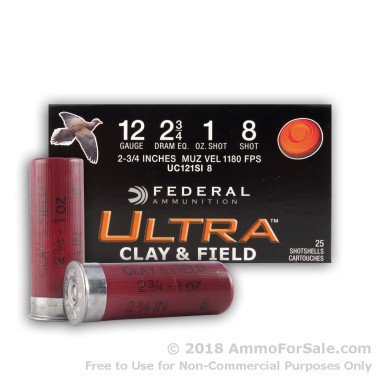 25 Rounds of 1 ounce #8 shot 12ga Ammo by Federal