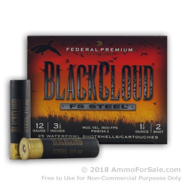 """25 Rounds of 1 1/2 ounce #2 Shot (Steel) 12ga 3-1/2"""" Ammo by Federal Black Cloud"""