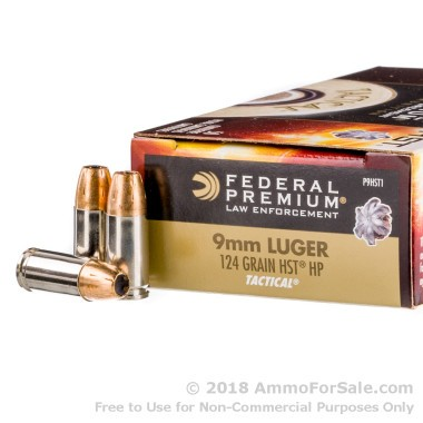 1000 Rounds of 124gr HST JHP 9mm Ammo by Federal Law Enforcement