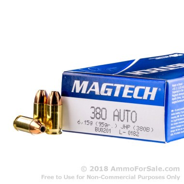 1000 Rounds of 95gr JHP .380 ACP Ammo by Magtech