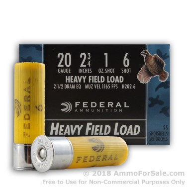 250 Rounds of  #6 shot 20ga Ammo by Federal