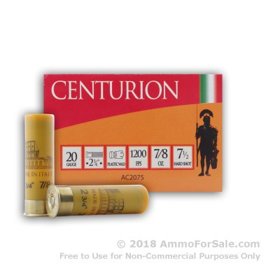 25 Rounds of 7/8 ounce #7 1/2 shot 20ga Ammo by Centurion