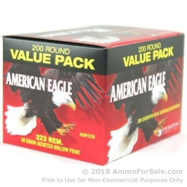 200 Rounds of 50gr JHP .223 Ammo by Federal