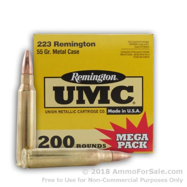 200 Rounds of 55gr MC .223 Ammo by Remington