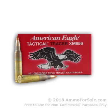 20 Rounds of 64gr FMJ 5.56x45 XM856 Tracer Ammo by Federal