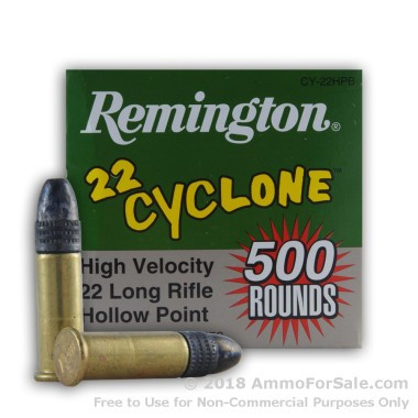 500  Rounds of 36gr LHP .22 LR Cyclone Ammo by Remington