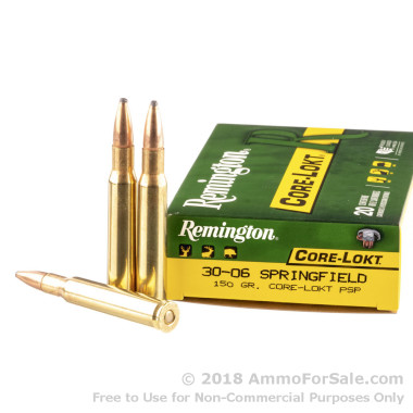 20 Rounds of 150gr PSP 30-06 Springfield Ammo by Remington