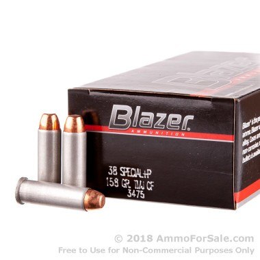 50 Rounds of 158gr TMJ .38 Spl +P Ammo by CCI Blazer Cleanfire