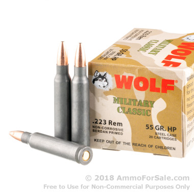 20  Rounds of 55gr HP .223 Ammo by Wolf WPA