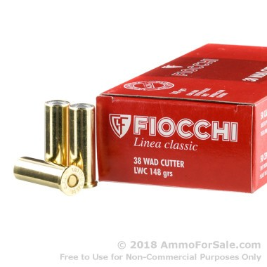 1000 Rounds of 148gr Lead Wadcutter .38 Spl Ammo by Fiocchi
