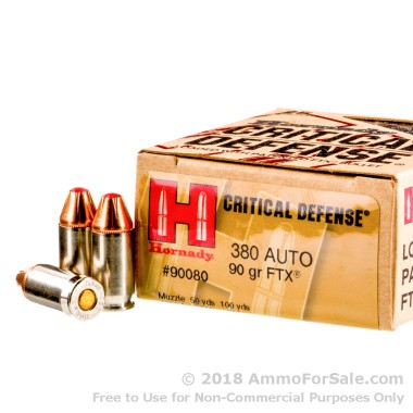 25 Rounds of 90gr JHP .380 ACP Ammo by Hornady