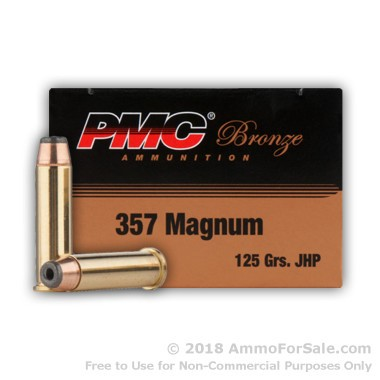 1000 Rounds of 125gr JHP .357 Mag Ammo by PMC