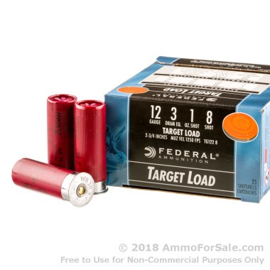 25 Rounds of 1 ounce #8 shot HV 12ga Ammo by Federal