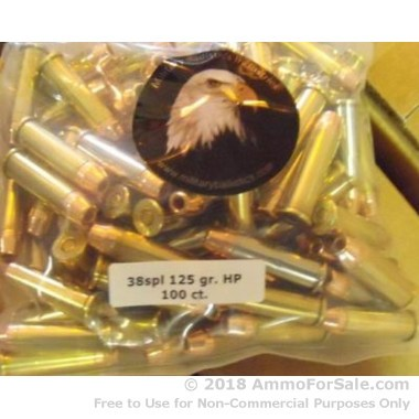 100 Rounds of 125gr JHP .38 Spl Ammo by M.B.I.