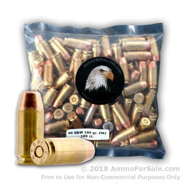 100 Rounds of 165gr FMJ .40 S&W Ammo by M.B.I.