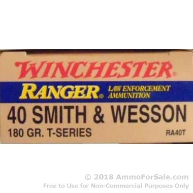 50 Rounds of 180gr JHP T-Series .40 S&W Ammo by Winchester Ranger